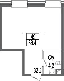 Своб. план., 36.4 м²