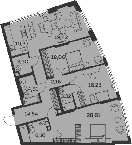 4Е-комнатная, 127.18 м²– 2