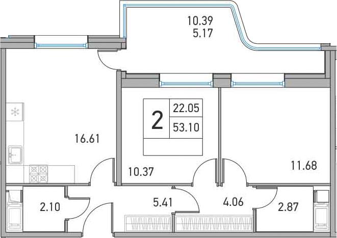 3-к.кв (евро), 63.49 м²