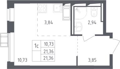 Студия, 21.36 м²