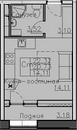 Студия, 22.32 м², 3 этаж