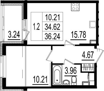 2Е-комнатная, 34.62 м²– 2