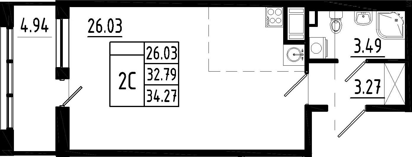 Студия, 37.73 м²