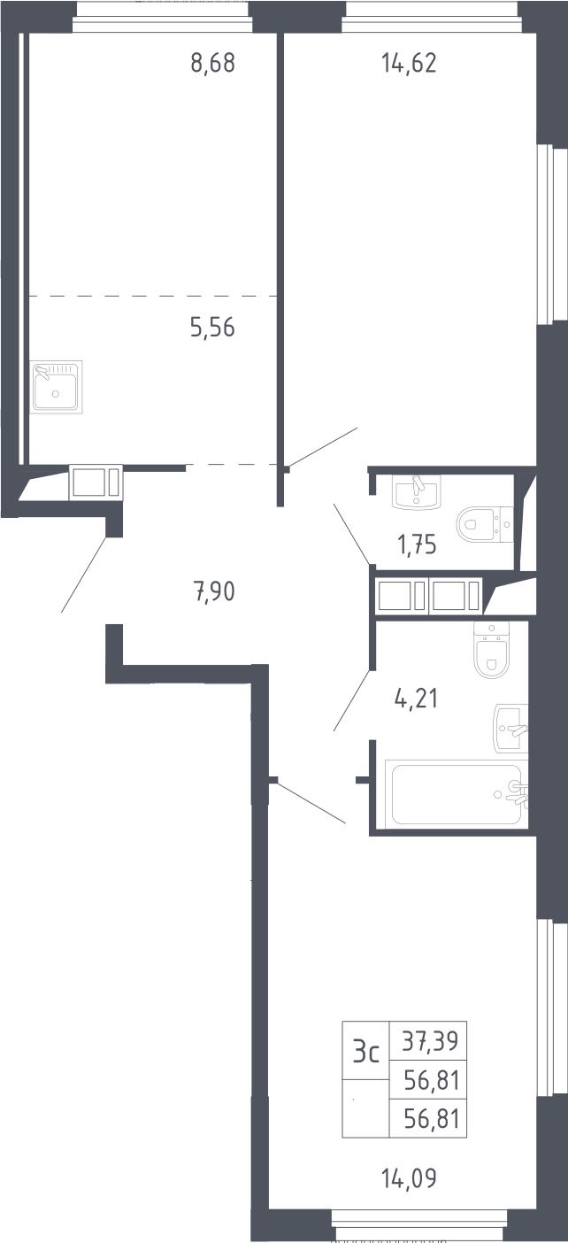 3Е-к.кв, 56.81 м², 2 этаж