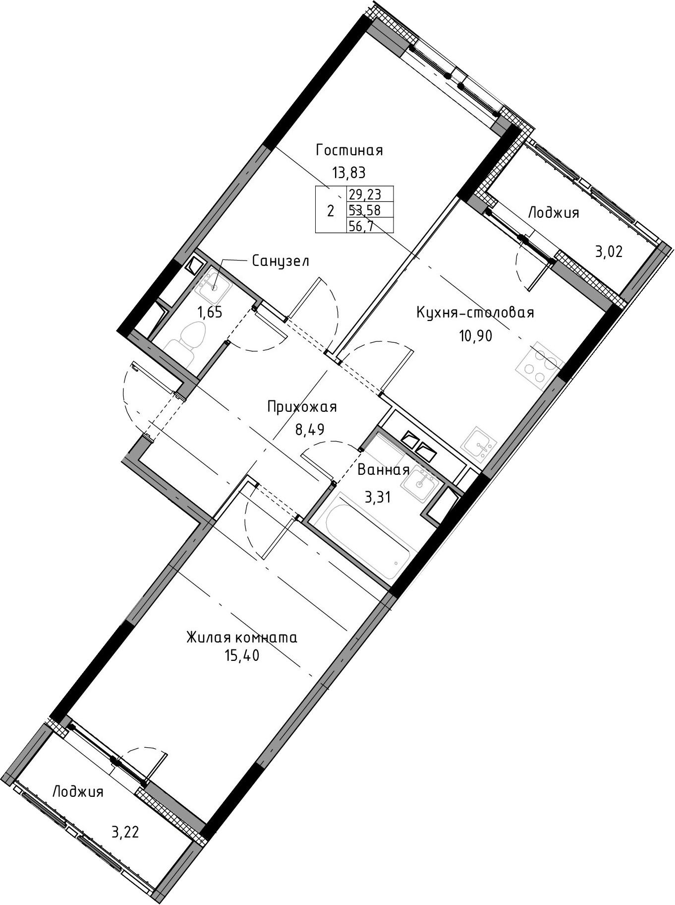 2-к.кв, 56.7 м², 3 этаж