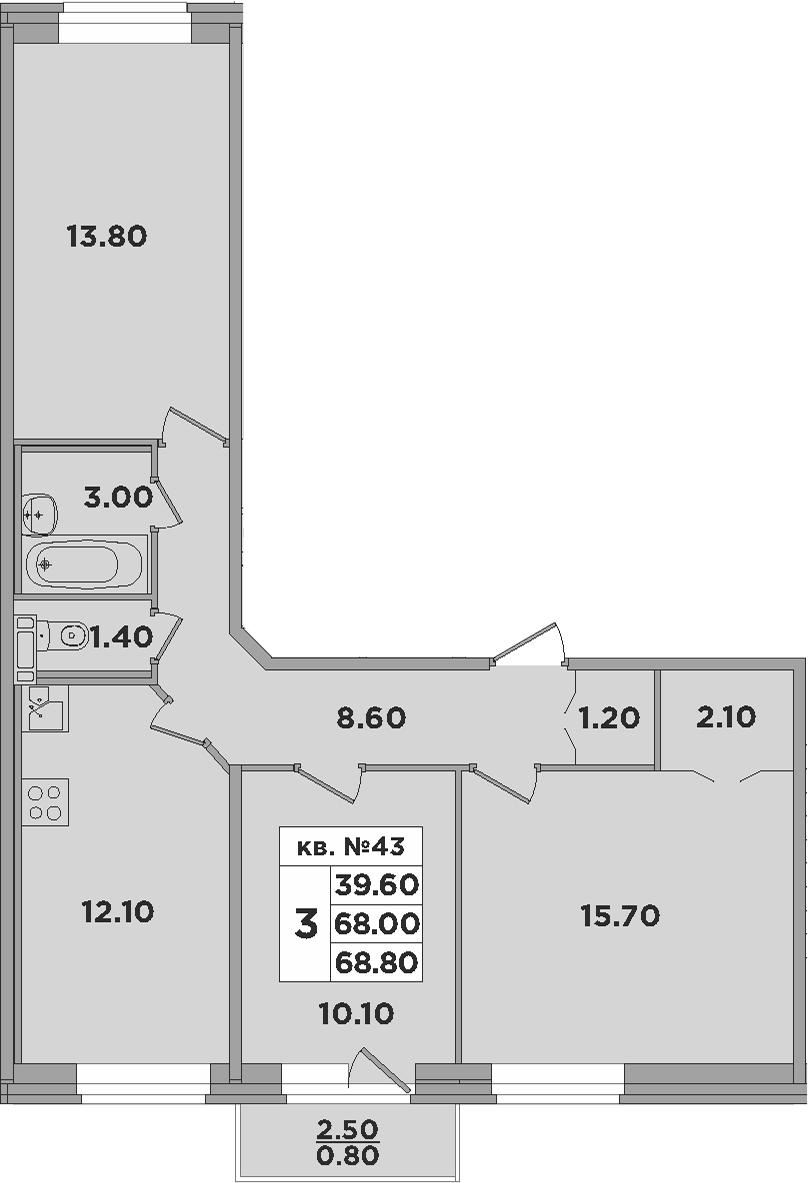 3-к.кв, 70.5 м²
