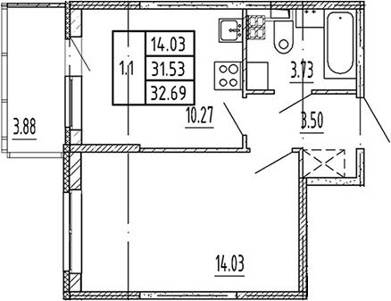 1-комнатная, 31.53 м²– 2