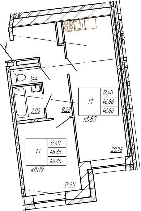 2Е-комнатная, 46.86 м²– 2