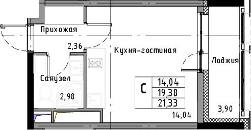 Студия, 21.33 м², 7 этаж