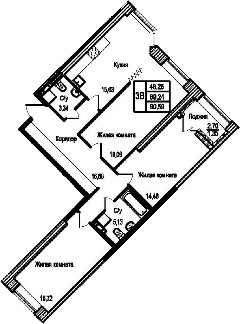 3-к.кв, 91.94 м²