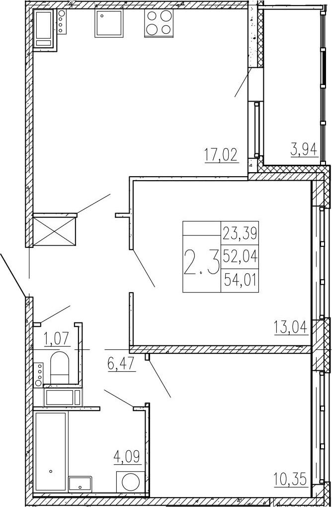 3-к.кв (евро), 55.98 м²