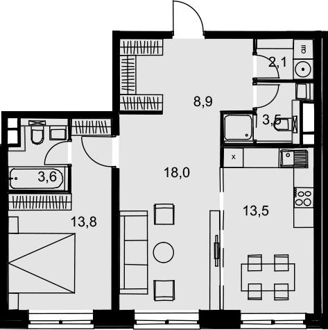 2-комнатная, 63.4 м²– 2