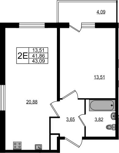 2-к.кв (евро), 45.95 м²