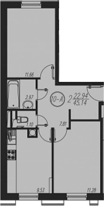 2-к.кв, 45.14 м²