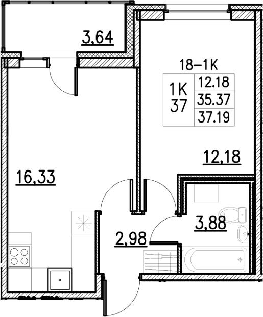 2Е-комнатная, 37.19 м²– 2