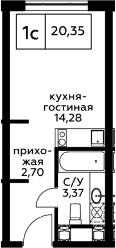 Студия, 20.35 м², 11 этаж