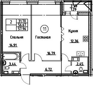 2-к.кв, 57.96 м²