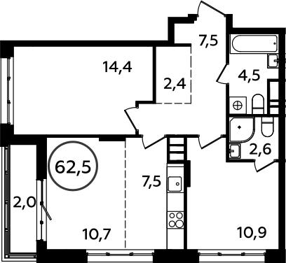 3Е-комнатная, 62.5 м²– 2