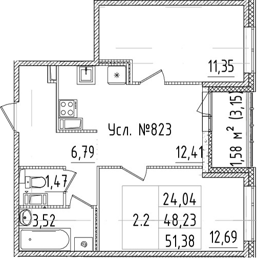 2-к.кв, 48.23 м²