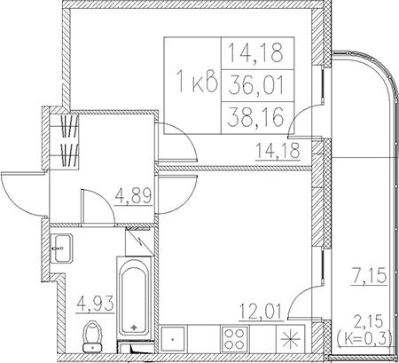 1-комнатная, 38.16 м²– 2
