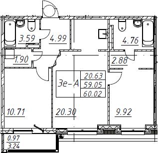 3Е-к.кв, 60.02 м², 5 этаж