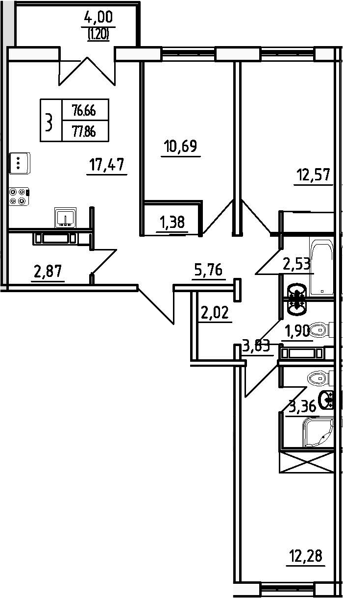 3-к.кв, 79.06 м²