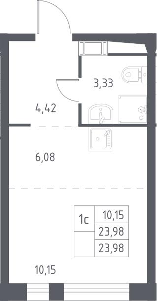 Студия, 23.98 м²– 2