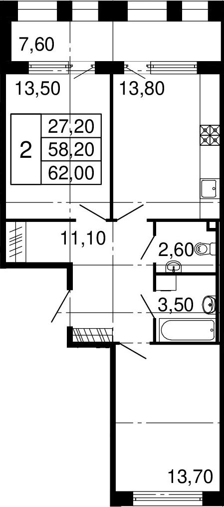 3-к.кв (евро), 65.8 м²