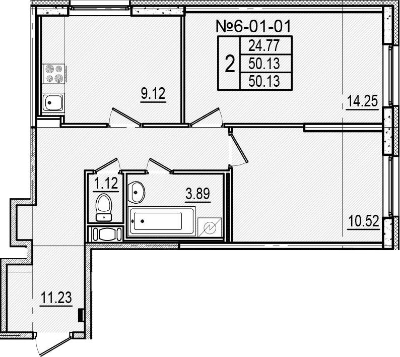 2-к.кв, 50.13 м²