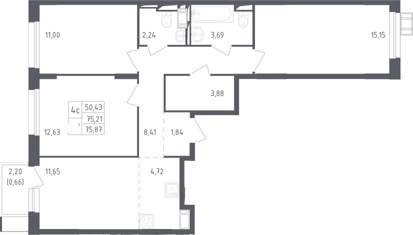 4Е-к.кв, 75.87 м²