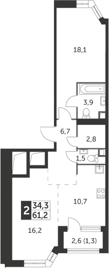 2-к.кв, 61.2 м², 13 этаж
