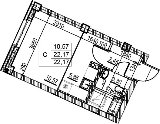 Студия, 22.17 м²