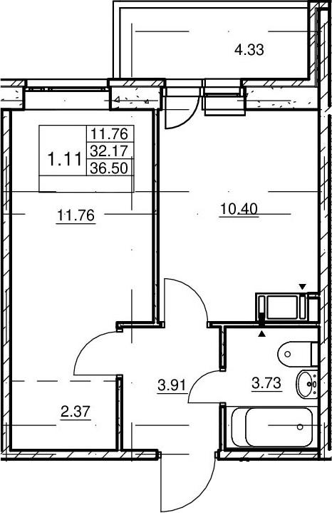 1-комнатная, 32.17 м²– 2