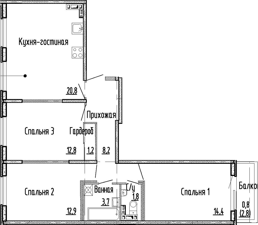 4Е-к.кв, 75.8 м², 2 этаж