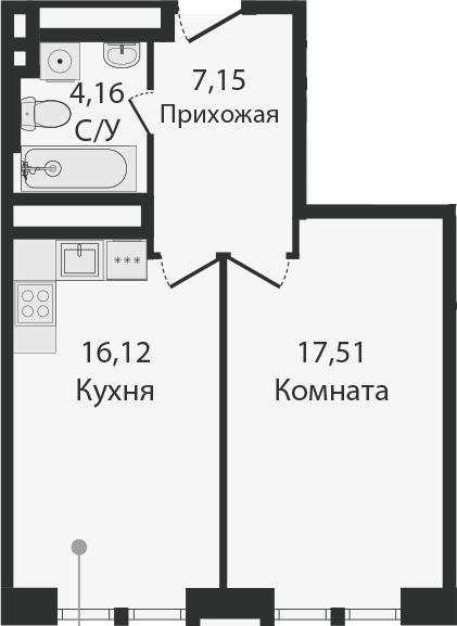 2Е-комнатная, 44.94 м²– 2