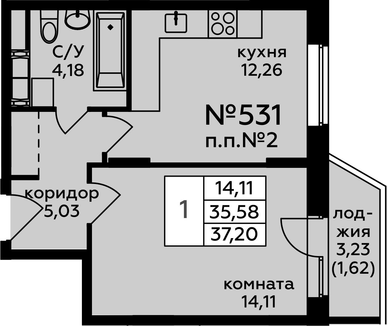 1-к.кв, 38.82 м²