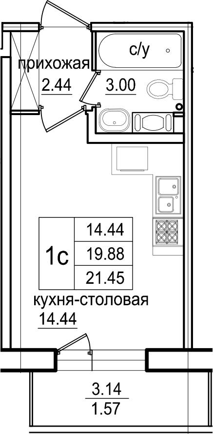 Студия, 21.45 м², 12 этаж