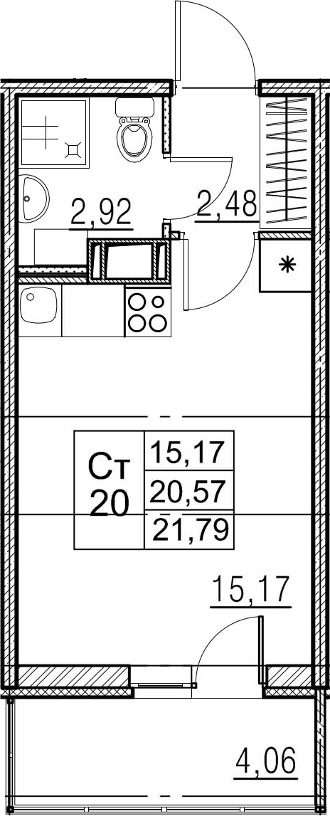 Студия, 24.63 м²