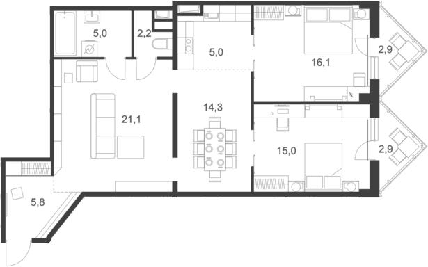 4Е-комнатная, 91.1 м²– 2