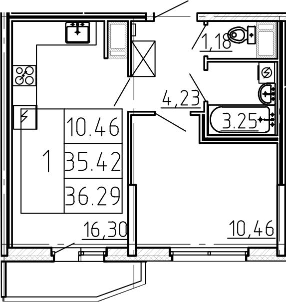 2-к.кв (евро), 38.32 м²