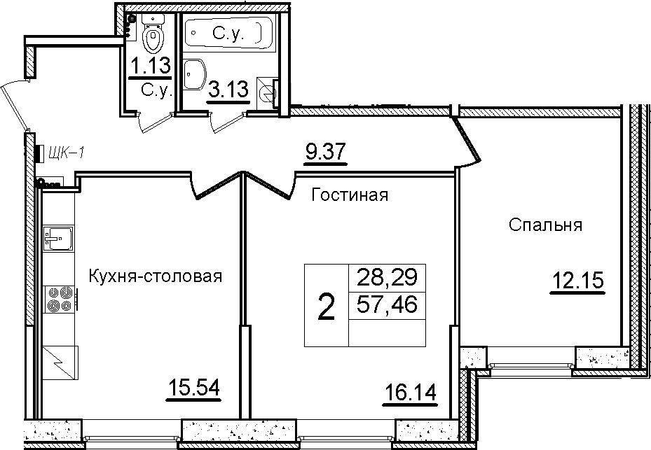 3Е-к.кв, 57.46 м²