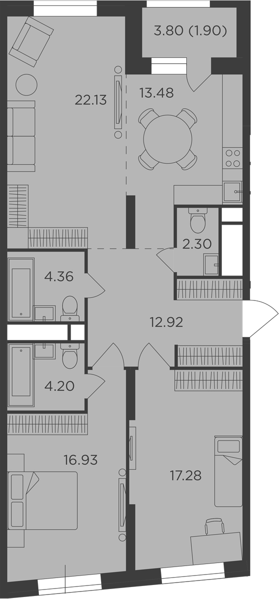3-к.кв, 95.5 м²