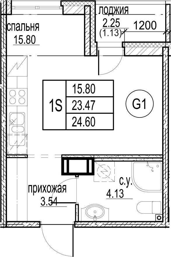 Студия, 25.73 м²