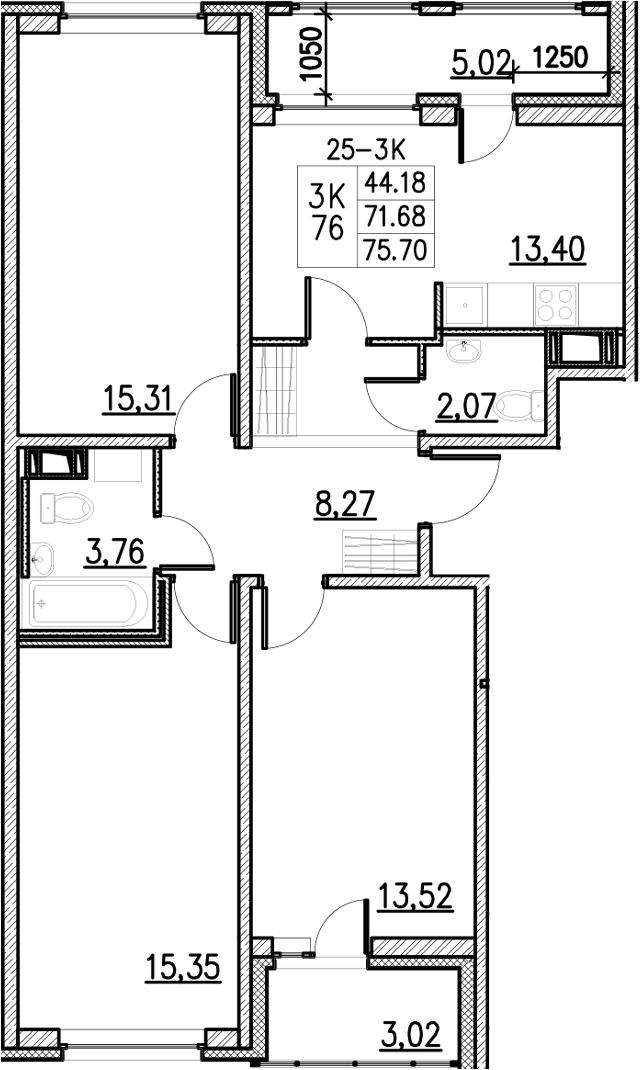 3-к.кв, 75.7 м²