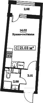 Студия, 21.03 м²