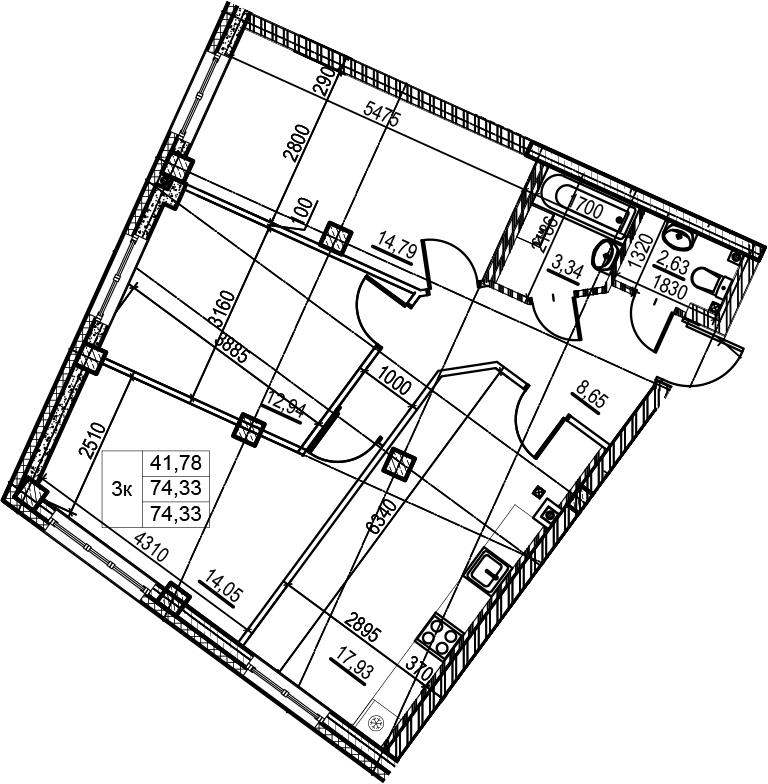 4-к.кв (евро), 74.33 м²