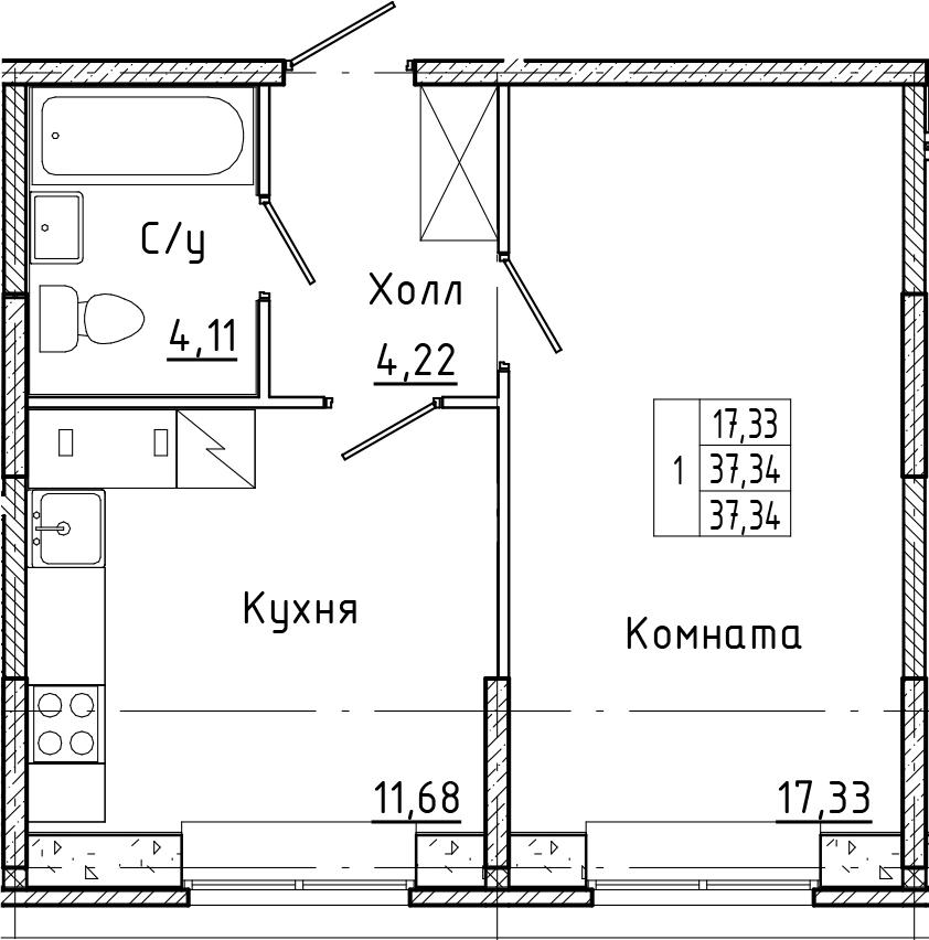 1-к.кв, 37.34 м²