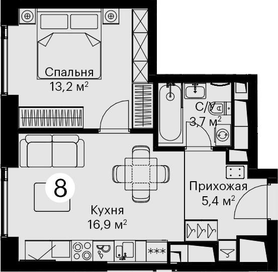 2Е-комнатная, 39.2 м²– 2