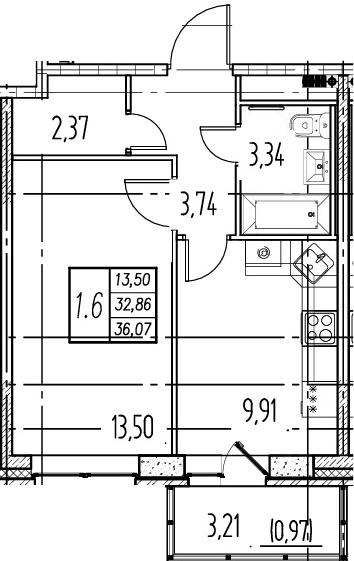 1-комнатная, 32.86 м²– 2