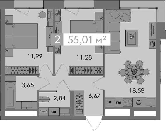 3-к.кв (евро), 55.01 м²